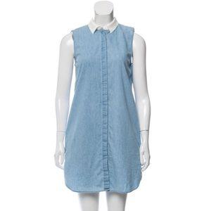 Blue Sleeveless Button Up Dress